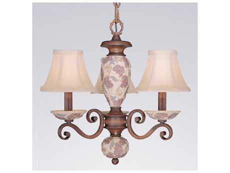 Classic Lighting Corporation Tapestry Honey Walnut Three-Light 20 Wide Mini Chandelier C871055HW