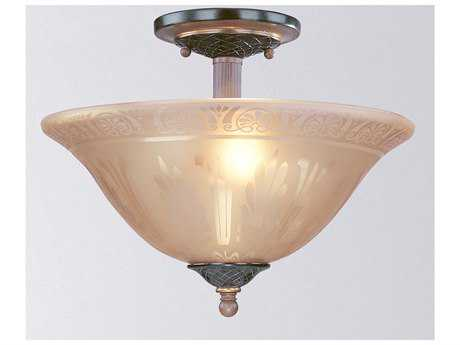 Classic Lighting Corporation Vintage Vintage Bronze Two-Light Semi-Flush Mount Light C871030VBR