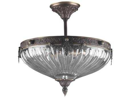 Classic Lighting Corporation Warsaw Roman Bronze Three-Light Semi-Flush Mount Light C855430RB