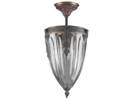 Classic Lighting Corporation Warsaw Roman Bronze Three-Light Semi-Flush Mount Light C855431RB
