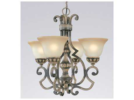 Classic Lighting Corporation Westchester Honey Rubbed Walnut Four-Light 21 Wide Chandelier