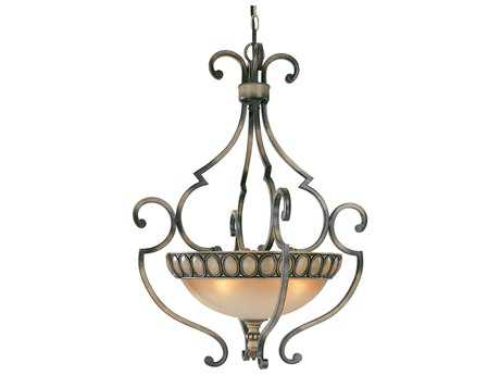 Classic Lighting Corporation Westchester Honey Rubbed Walnut Four-Light Pendant Light C892718HRW