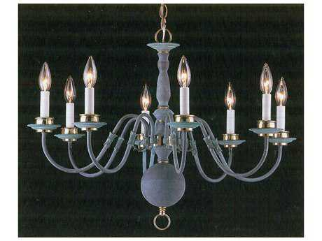 Classic Lighting Corporation Classic Willaimsburgs Verde & Polished Brass Eight-Light 28 Wide Chandelier C86768VPB