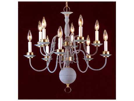 Classic Lighting Corporation Classic Willaimsburgs Verde & Polished Brass Ten-Light 24 Wide Chandelier C86770VPB