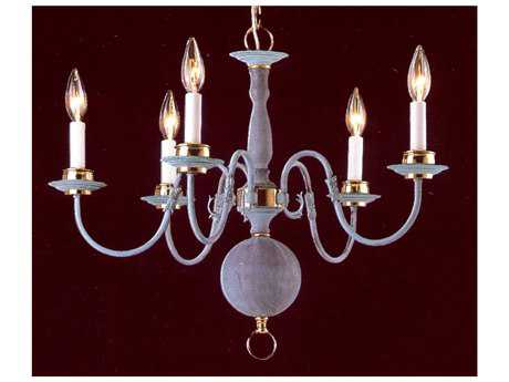 Classic Lighting Corporation Classic Willaimsburgs Verde & Polished Brass Five-Light 24 Wide Mini Chandelier