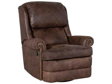 Classic Leather Chesapeake Box Cushion Swivel-Glider Recliner Chair