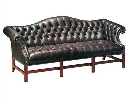 Classic Leather Chippendale Tufted Sofa