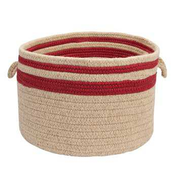 Colonial Mills Cabin Stripe Storage Sangria Round Basket CII578BKTROU