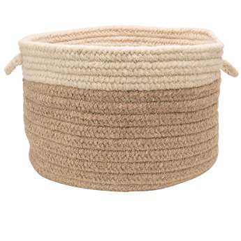 Colonial Mills Chunky Natural Wool Dipped Beige & Natural Round Basket CICN11BKTROU