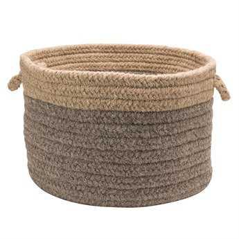 Colonial Mills Chunky Natural Wool Dipped Dark Gray & Beige Round Basket CICN31BKTROU