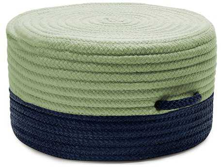Colonial Mills Color Block Navy & Green 20''x20''x11'' Round Pouf CIFR61PFROU