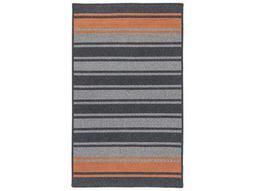 Frazada Stripe Charcoal & Orange Rectangular Area Rug