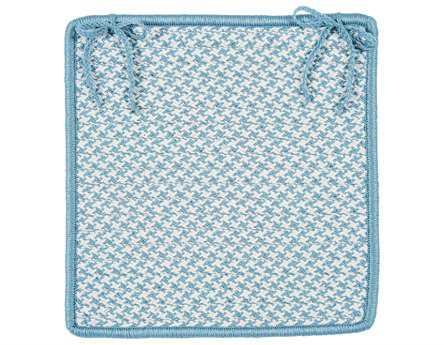 Colonial Mills Outdoor Houndstooth Tweed Sea Blue Chair Pad (Set of 4)