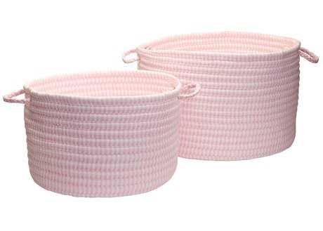 Colonial Mills Ticking Solids Pink 18''x18''x12'' Round Basket CITX70BKTROU