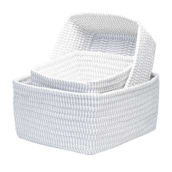 Colonial Mills Ticking Stripe Gray Nesting Basket Set CITK90NST