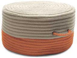 Two-Tone Orange 20''x20''x11'' Round Pouf