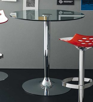 Connubia Planet Tempered Glass & Chrome 36'' Wide Round Bar Table CNUCB4005VSBGTRP77P77