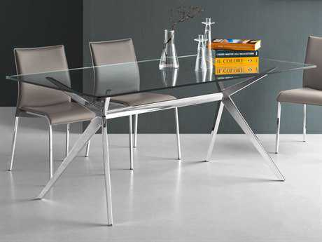 Connubia Seven Transparent with Chrome 71''L x 36''W Rectangular Dining Table CNUCB4042RC180GGTRP77P77