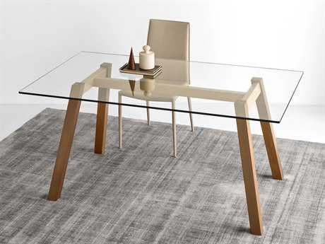 Connubia T-Table Transparent with Matte Nougat 63''L x 36''W Rectangular Dining Table CNUCB4781RC160GTRP328P201