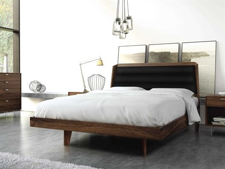 Copeland Furniture Canto Natural Walnut Platform Bed with Wood Legs CF1CAN1204