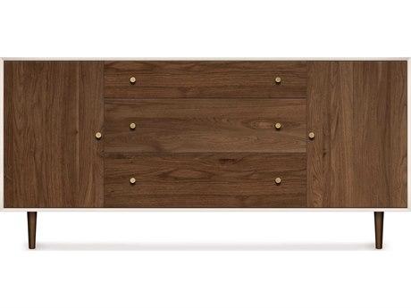 Copeland Furniture Mimo Bright White Maple & Natural Walnut 66''L x 18''W Rectangular Buffet