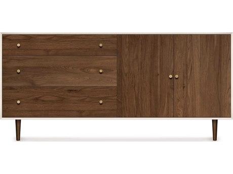 Copeland Furniture Mimo Bright White Maple & Natural Walnut 66''L x 18''W Rectangular Three-Drawer on Left Buffet