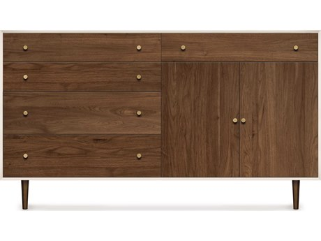 Copeland Furniture Mimo Bright White Maple & Natural Walnut 66''L x 18''W Rectangular Four-Drawer on Left Buffet