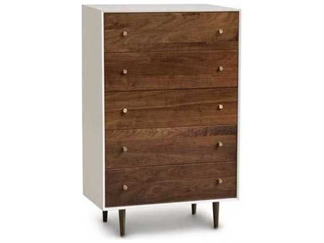 Copeland Furniture Mimo Bright White Maple & Natural Walnut 34''W x 18''D Rectangular Five-Drawer Chest of Drawers