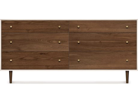 Copeland Furniture Mimo Bright White Maple & Natural Walnut Six-Drawers Double Dresser