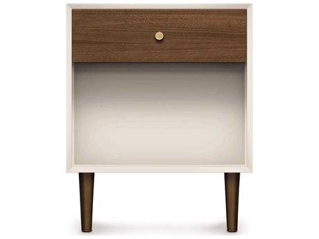 Copeland Furniture Mimo Bright White Maple & Natural Walnut 19''W x 18''D Rectangular One-Drawer Nightstand