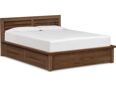 Copeland Furniture Moduluxe-35 Platform Bed with Clapboard Headboard & Storage