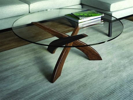 Copeland Furniture Statements Entwine Natural Walnut 42'' Wide Round Coffee Table CF5ENT420004