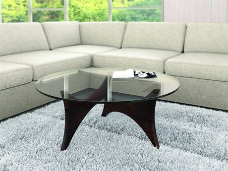 Copeland Furniture Statements Pivot Natural Walnut 42'' Wide Round Coffee Table