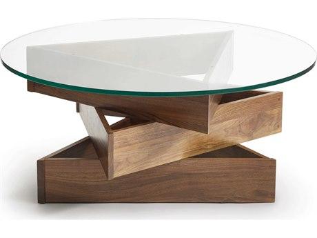 Copeland Furniture Statements Twist Natural Walnut 42'' Wide Round Coffee Table CF5TWT420004