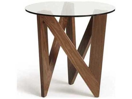 Copeland Furniture Statements Check Natural Walnut 24'' Wide Round End Table