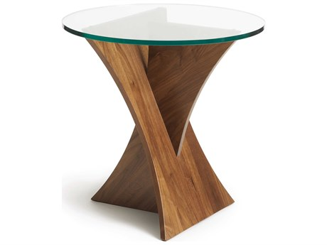 Copeland Furniture Statements Clear / Natural Walnut 24'' Wide Round End Table CF5PLN240004