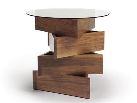 Copeland Furniture Statements Twist Natural Walnut 24'' Wide Round End Table