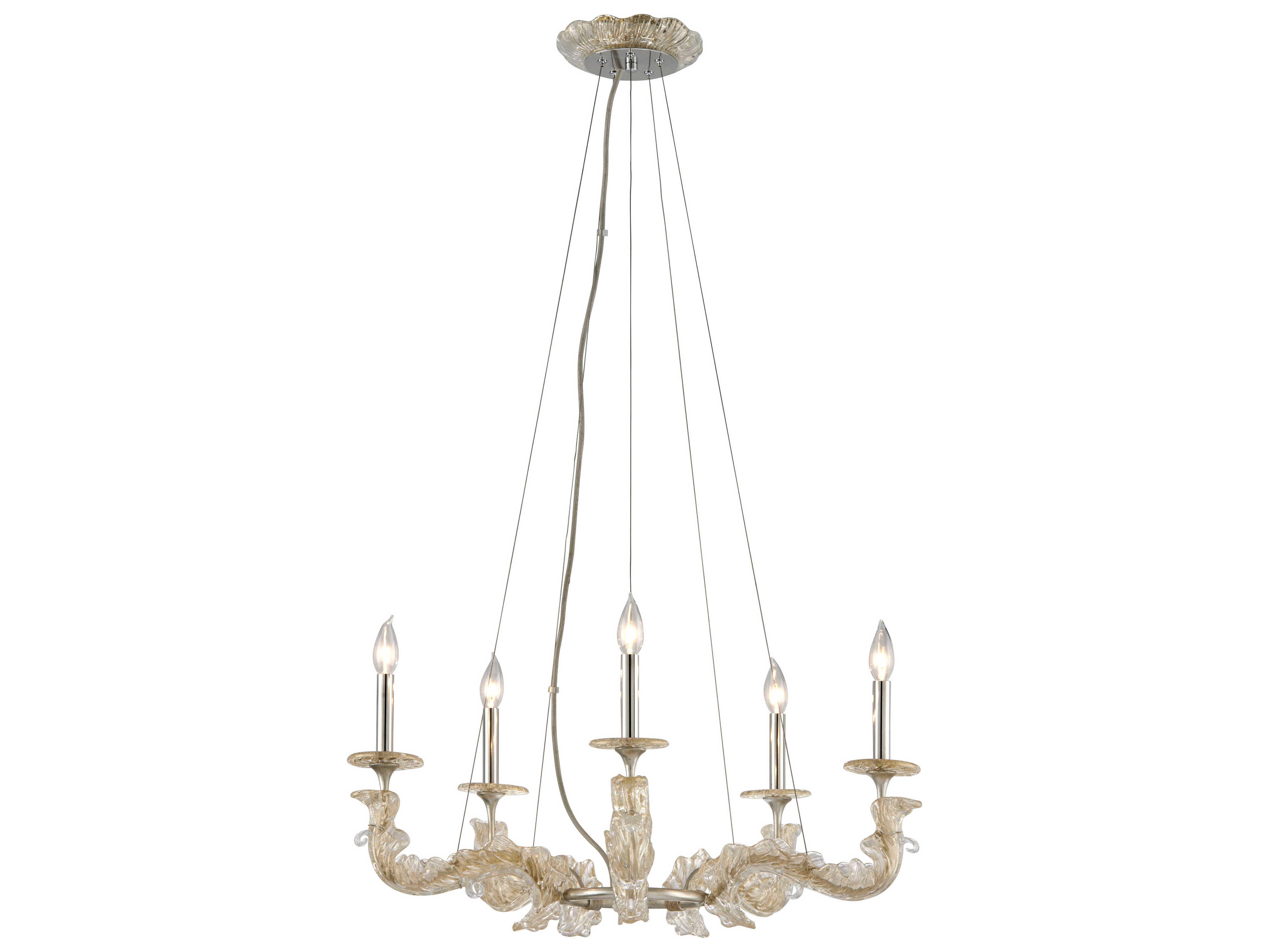 Corbett Lighting Cielo Silver Leaf Five