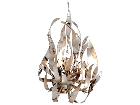 Corbett Lighting Graffiti Silver Leaf / Polished Stainless Two-Light 14'' Wide Wall Sconce CT15412