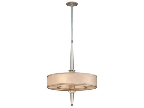 Corbett Lighting Harlow Tranquility Silver Leaf / Polished Stainless Six-Light 26'' Wide Pendant Light CT16646