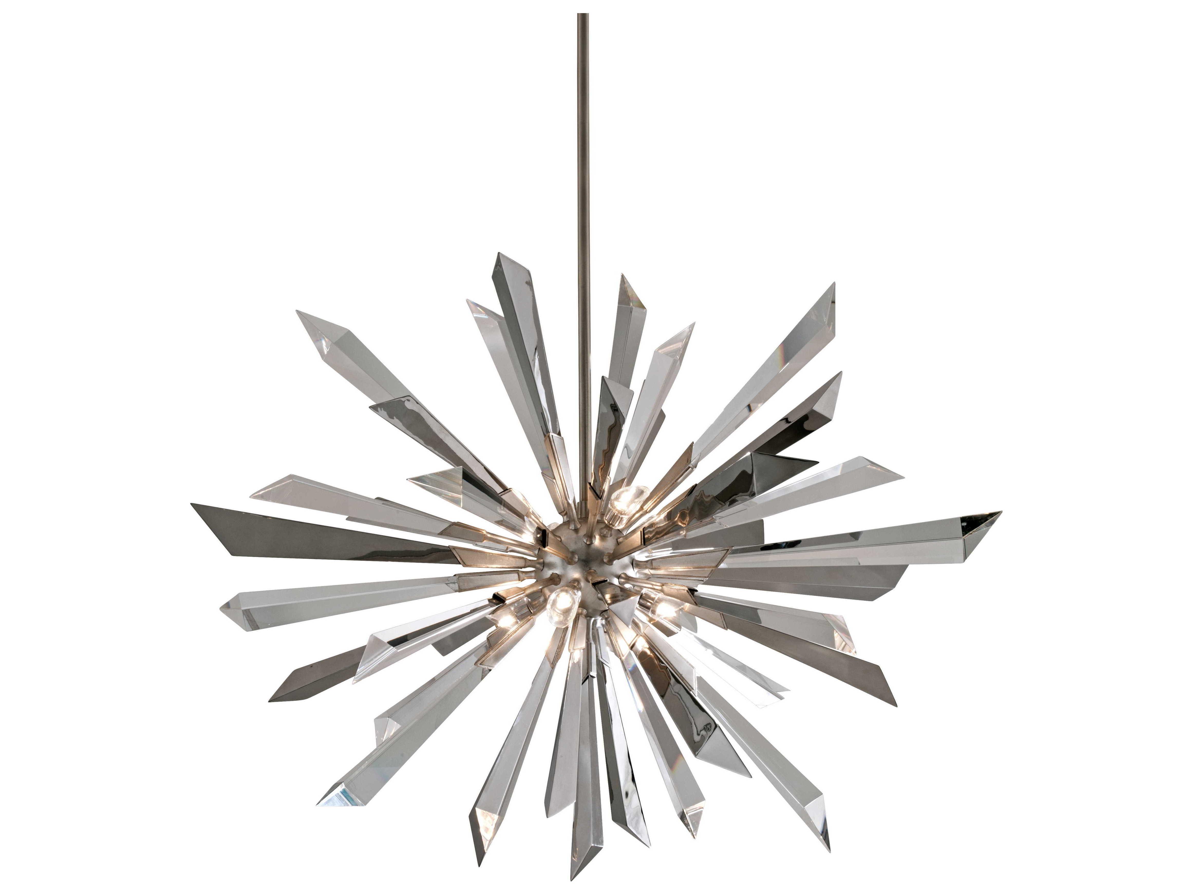 Corbett Lighting Inertia Silver Leaf Eight Light 48 Wide Pendant Light Ct14048