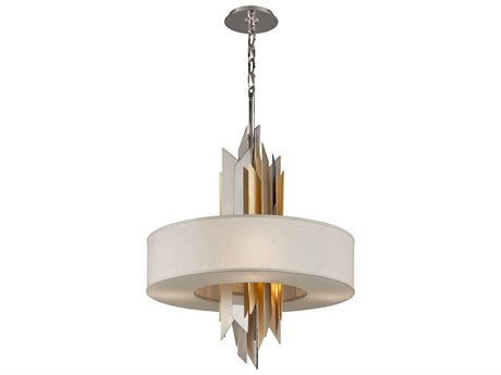 Corbett Lighting Modernist Polish Stainless / Silver And Gold Leaf Six-Light 28'' Wide Incandescent Pendant Light