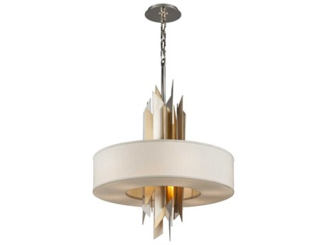 Corbett Lighting Modernist Polish Stainless / Silver And Gold Leaf Eight-Light 34'' Wide Incandescent Pendant Light