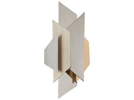 Corbett Lighting Modernist Polish Stainless / Silver And Gold Leaf 9'' Wide Wall Sconce