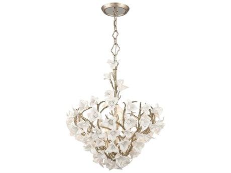 Corbett Lighting Lily Enchanted Silver Leaf Six-Light 27'' Wide Pendant Light