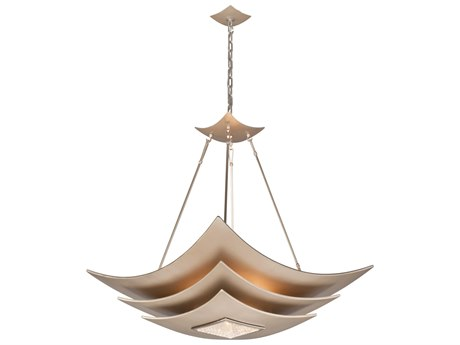 Corbett Lighting Muse Tranquility Silver Leaf / Polished Stainless Six-Light 30'' Wide Pendant Light CT15546