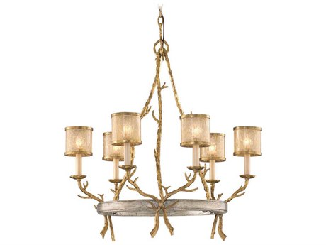 Corbett Lighting Parc Royale Gold and Silver Leaf Six-Light 29'' Wide Chandelier CT6606