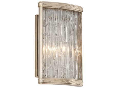 Corbett Lighting Pipe Dream Silver Leaf / Polished Stainless 7'' Wide Wall Sconce CT19311
