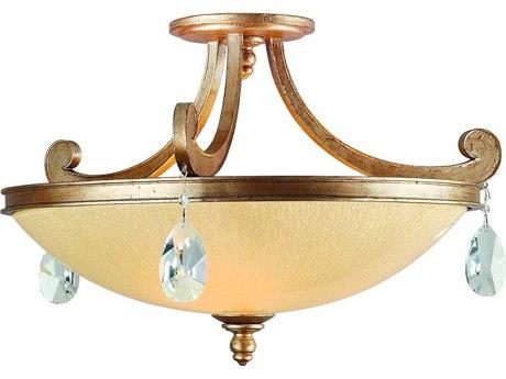 Corbett Lighting Roma Antique Roman Silver Three-Light 22'' Wide Semi-Flush Mount CT7133