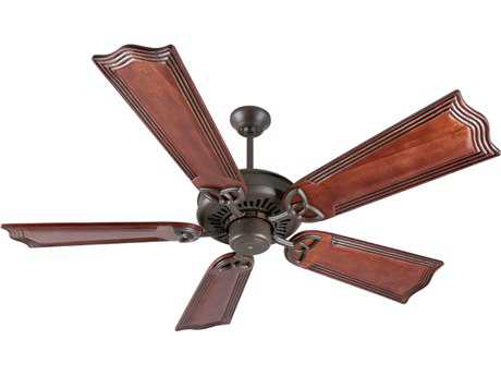 Craftmade American Tradition Aged Bronze Textured 56 Inch Wide Ceiling Fan with Custom Carved Blades in Wellington Mahogany